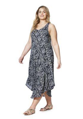 Samya Elephant Print Midi Plus Size Dress Black Multi 26
