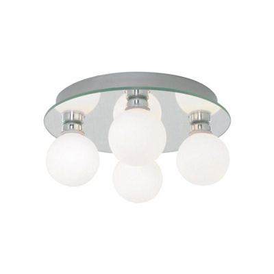 Mirrored Semi Flush Bathroom Ceiling Light with Glass Globes