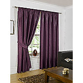 Faux Silk Eyelet Curtains, Aubergine 229x229cm