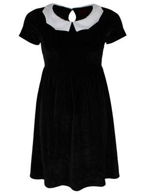 Iron Fist Bat Collar Black Velvet Women's Dress