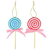 Set of 2 Blue & Pink Striped Claydough Lollipop Christmas Tree Decorations