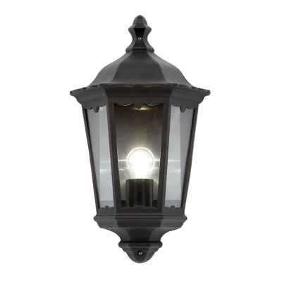 Burford Half Lantern 60W Wall Light Matte Black Paint