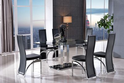 Roma Black Glass and Stainless Steel Frame 150 cm Dining Table with 4 Black Alisa Chairs