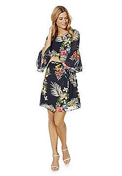F&F Tropical Print Split Bell Sleeve Dress - Multi