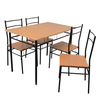 Harbour Housewares 5 Piece Kitchen Dining Table \u0026 Chairs Set - Black  sc 1 st  Tesco & Dining Table \u0026 Chair Sets | Home Furniture | Tesco direct - Tesco