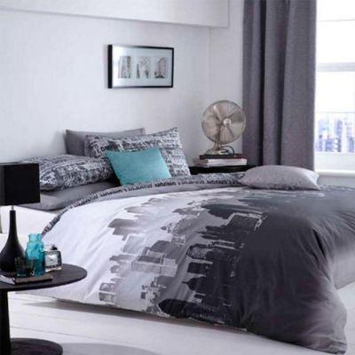 Buy City Scape Urban New York Bedding Set With Pillowcase Grey Black
