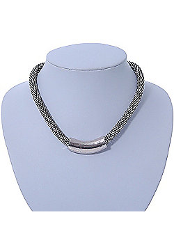 Burn Silver Tone Mesh Magnetic Choker Necklace - 36cm Length