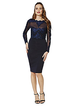 AX Paris Embroidered Mesh Top Pencil Dress - Navy