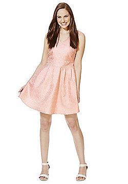 Mela London Floral Jacquard Prom Dress - Blush pink
