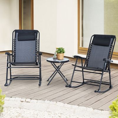 Outsunny 3 PC Bistro Set Patio Folding Rocking Armrest Chairs Camping Sling Seat - Black