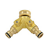 Green Jem Quick Fix Brass Dual Tap Connector