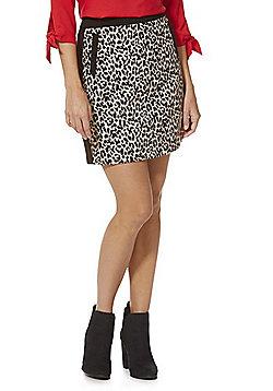 F&F Leopard Print Mini Skirt - Black & Grey