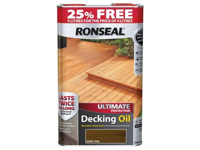 Ronseal Ultimate Protection Decking Oil Dark Oak 4 Litre + 25%