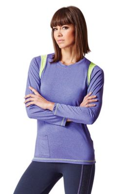 Long Sleeve Pocket Yoga Top Purple XS