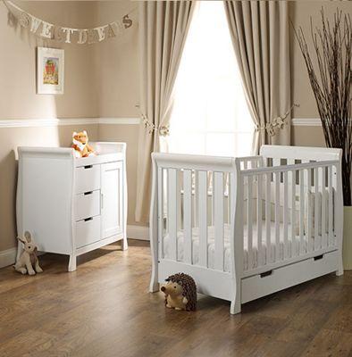 Obaby Stamford Mini Cot Bed 2 Piece + Sprung Mattress Nursery Room Set - White