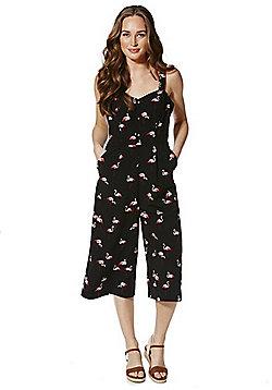 F&F Flamingo Print Culotte Jumpsuit - Black & Pink