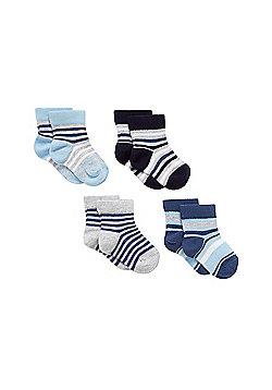 Mothercare Baby Newborn Boy's Stripy Socks - 4 Pack Size 6-12 months