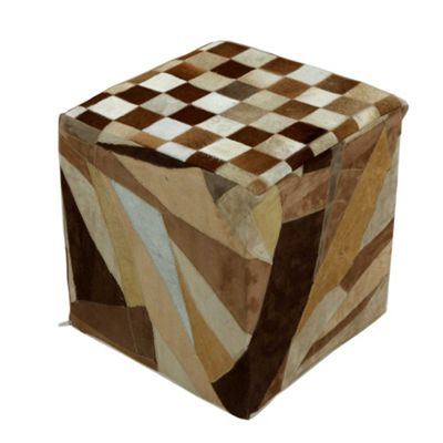 Homescapes Leather Suede Brown Block Check Cube Pouffe, 36 x 36 x 38 cm