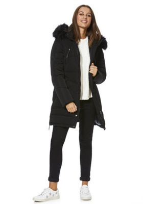 Only Faux Fur Trim Down Padded Coat XS Black