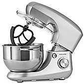 Andrew James Stand Food Mixer - 5.5L Bowl 2 Beaters Dough Hook & Whisk Attachment - Silver