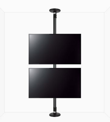 B-Tech Floor To Ceiling Mount For Up To 2 x 55 inch 3m Pole - Black