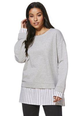 Noisy May Striped Poplin Mock Layer Sweatshirt Grey XS