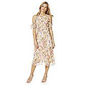 F&F Paisley Print Ruffle Trim Cold Shoulder Midi Dress - Blush pink