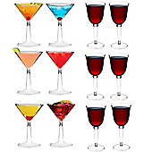 Plastic Cocktail Glasses and Red / White Outdoor Wine Glasses - Set of 12
