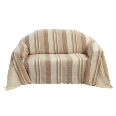 Homescapes Cotton Morocco Striped Beige Throw, 225 x 255 cm