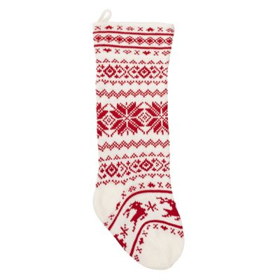 Nordic Red & White Knitted Christmas Stocking