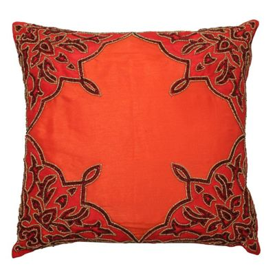 Red, Orange and Black Sequined Indian Cushion Living Room Decor