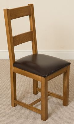 Lincoln Rustic Oak & Brown Leather Braced Dining Chair