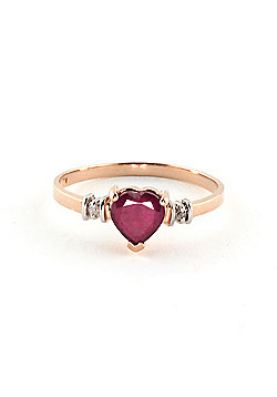 QP Jewellers Diamond & Ruby Heart Ring in 14K Rose Gold