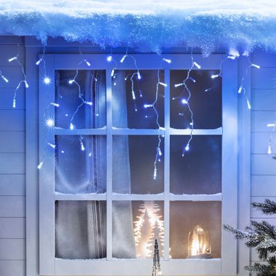 192 Blue & White LED Connectable Icicle Lights 6m