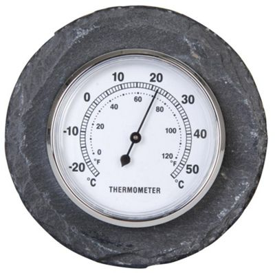 Fallen Fruits Round Slate World of Weather Outdoor Thermometer