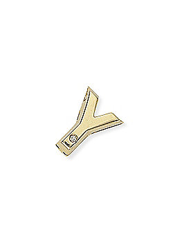 Jewelco London 9ct Yellow Gold - Diamond - Y' Initial Charm Pendant -