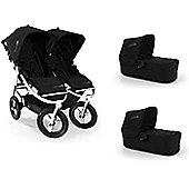 Bumbleride Indie Twin Stroller and 2 x Carrycots Bundle Jet Black