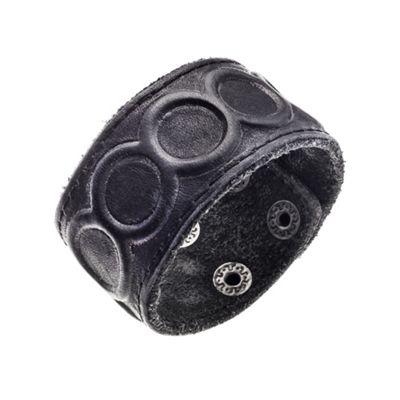 Urban Male Genuine Black Leather Embossed Cuff Bracelet