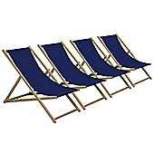 Traditional Adjustable Garden / Beach-style Deck Chair - Navy-Blue - Pack of 4