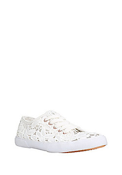 F&F Broderie Anglaise Lace-Up Pumps - White