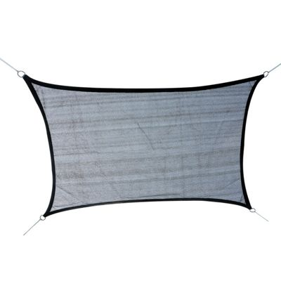 Outsunny 4m x 3m Rectangle Sail Shade Awning with Ropes In Grey