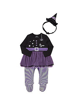 F&F Halloween Witch All in One with Hat Hairband - Black & Purple
