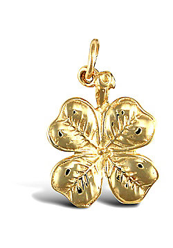 Solid 9ct Yellow Gold 4 Leaf Clover Charm Pendant