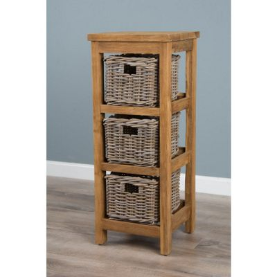 Reclaimed Teak Storage Unit with Three Baskets