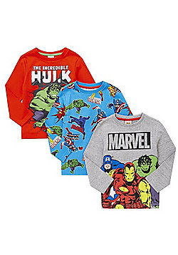 Marvel 3 Pack of Superhero Long Sleeve T-Shirts - Multi