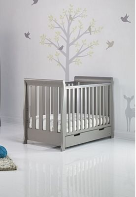 Obaby Stamford Mini Cotbed and Under Drawer - Taupe Grey