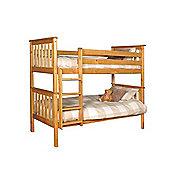 Comfy Living 3ft Single Children's Shaker Bunk Bed in Caramel