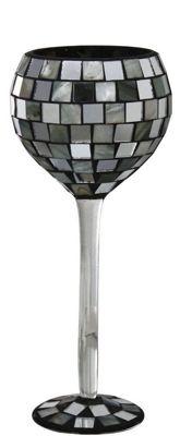 Silver Shell Tile Mosaic Goblet Decoration Glass Stem