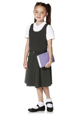 F&F School Soft Touch Pinafore with Belt 5-6 years Grey