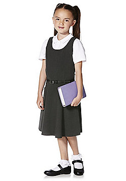 F&F School Soft Touch Pinafore with Belt - Grey